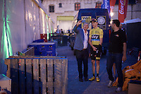 selfie-duties bonanza for Chris Froome (GBR/SKY)<br /> <br /> Post-Tour Criterium Mechelen 2015