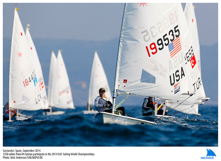 20140912, Santander, Spain: 2014 ISAF SAILING WORLD CHAMPIONSHIPS - More than 1,250 sailors in over 900 boats from 84 nations will compete at the Santander 2014 ISAF Sailing World Championships from 8-21 September 2014. The best sailing talent will be on show and as well as world titles being awarded across ten events 50% of Rio 2016 Olympic Sailing Competition places will be won based on results in Santander. Sailor(s): Laser Radial - USA199535 - Christine NEVILLE. Photo: Mick Anderson/SAILINGPIX.DK. Keywords: Sailing, water, sport, ocean, boats, olympic, dinghy, dinghies, crew, team, sail. Filename: SailingWorlds2014_MICK-2519.jpg.