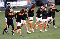 Blackpool players during the pre-match warm-up <br /> <br /> Photographer Rich Linley/CameraSport<br /> <br /> The EFL Sky Bet League One - Blackpool v Barnsley - Saturday 22nd December 2018 - Bloomfield Road - Blackpool<br /> <br /> World Copyright &copy; 2018 CameraSport. All rights reserved. 43 Linden Ave. Countesthorpe. Leicester. England. LE8 5PG - Tel: +44 (0) 116 277 4147 - admin@camerasport.com - www.camerasport.com