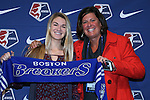 15 January 2016: Christen Westphal (left), with her University of Florida coach Becky Burleigh (right), was taken with the #3 overall pick by the Boston Breakers. The 2016 NWSL College Draft was held at The Baltimore Convention Center in Baltimore, Maryland as part of the annual NSCAA Convention.