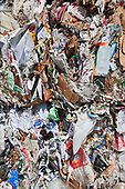 Stacks of paper. Recycling Center, Los Angeles, California, USA