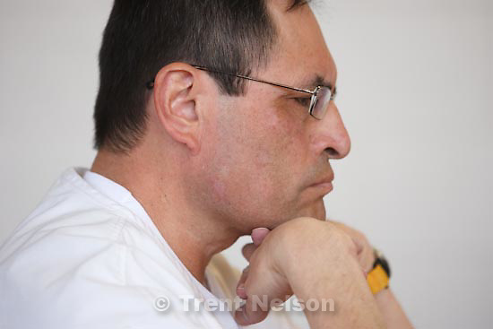 Trent Nelson     The Salt Lake Tribune.Draper - Marco Herrera, 54, a former West High School counselor who had a sexual affair with a 14-year-old female student, listens to his victim speak at his parole hearing Thursday, March 11, 2010. Herrera took a plea deal and is serving three consecutive 1-to-15-year terms.
