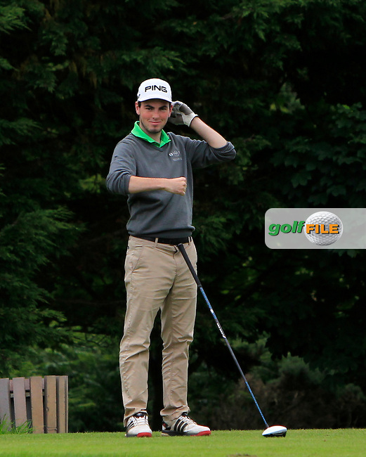 Eamonn O'Driscoll (FRA) on the 15th tee during R1 of the 2016 Connacht U18 Boys Open, played at Galway Golf Club, Galway, Galway, Ireland. 05/07/2016. <br /> Picture: Thos Caffrey | Golffile<br /> <br /> All photos usage must carry mandatory copyright credit   (&copy; Golffile | Thos Caffrey)