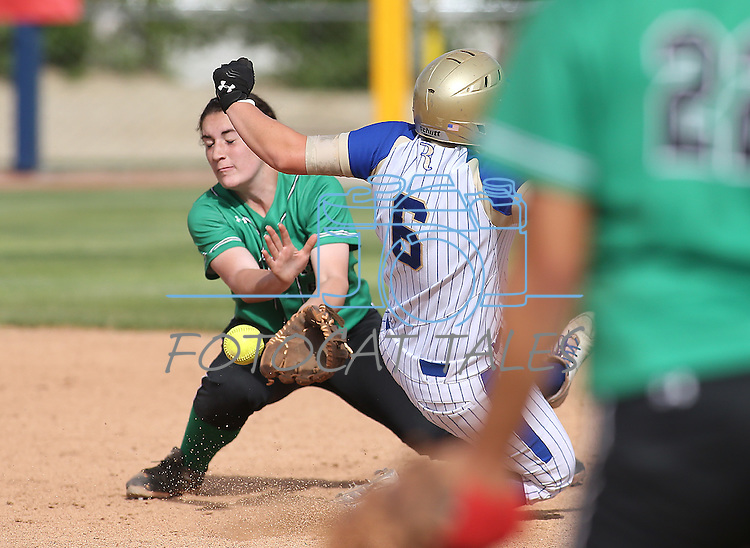 Rancho's Gianna Carosone tries to make the tag against Reed's Ryia Grant during NIAA DI softball action at the University of Nevada, in Reno, Nev., on Thursday, May 19, 2016. Reed won 2-0. Cathleen Allison/Las Vegas Review-Journal