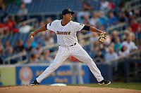 Trenton Thunder starting pitcher Rony Garcia (37) during an Eastern League game against the New Hampshire Fisher Cats on August 20, 2019 at Arm & Hammer Park in Trenton, New Jersey.  New Hampshire defeated Trenton 7-2.  (Mike Janes/Four Seam Images)