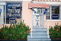 Campaign signs are seen outside the Donald Trump campaign office in Hialeah, Miami, Florida, on Sun., Oct. 9, 2016.