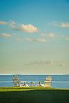 Middle Beach, Madison, CT. Adirondack chairs and Long Island Sound.