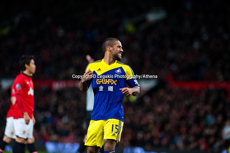 Sunday 05 January 2014<br /> Pictured:Wayne Routledge looks on as he misses a shot at the Manchester goal<br /> Re: Manchester Utd FC v Swansea City FA cup third round match at Old Trafford, Manchester
