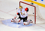 11 November 2008:  Ottawa Senators' goaltender Alex Auld makes a deflecting save against Montreal Canadiens in the second period at the Bell Centre in Montreal, Quebec, Canada. The Canadiens, celebrating their 100th season, defeated the visiting Senators 4-0. ***Editorial Sales Only***..Mandatory Photo Credit: Ed Wolfstein Photo *** Editorial Sales through Icon Sports Media *** www.iconsportsmedia.com