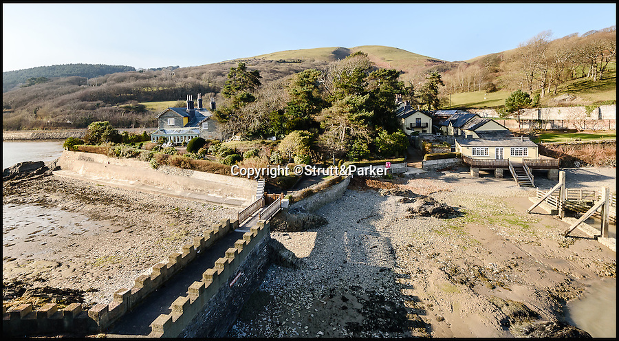 BNPS.co.uk (01202 558833)<br /> Pic: Strutt&Parker/BNPS<br /> <br /> View back fro the island to the house.<br /> <br /> Go West...ultimate coastal hideaway with its own private island.<br /> <br /> A beautiful family home with its own private island is the perfect purchase for anyone with a sense of adventure.<br /> <br /> Trefri Hall is a stunning Grade II listed house with the Snowdonian hills as a backdrop and incredible views over the Dovey Estuary in mid Wales.<br /> <br /> But the real selling point is the small rocky island you can reach by bridge with your own castellated folly - ideal for pirate games or a spot of hide and seek.<br /> <br /> The house is up for sale with Strutt & Parker for £1.75million.