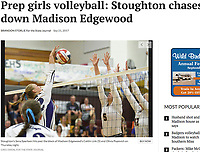 Stoughton's Sena Sperloen hits past Edgewood's Caitlin Link (5) and Olivia Popovich, as Stoughton takes on Madison Edgewood in Badger South Conference girls high school volleyball on Thursday, 9/21/17 at Edgewood High School in Madison, Wisconsin | Wisconsin State Journal article front page Sports 9/22/17 and online at http://host.madison.com/wsj/sports/high-school/volleyball/prep-girls-volleyball-stoughton-chases-down-madison-edgewood/article_09b4f0b7-8a16-5d26-95ec-c659e83a307b.html