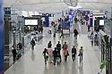 A high angle view of interiors of Hong Kong International Airport. Hong Kong, People's Republic of China