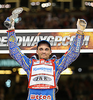 BARTOSZ ZMARZLIK (Poland) celebrates finishing third in the 2016 Adrian Flux British FIM Speedway Grand Prix at Principality Stadium, Cardiff, Wales  on 9 July 2016. Photo by David Horn.