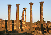 4 Corinthian columns, each 14m high, 1,20m circumference, Nymphaeum Temple, 2nd century AD, Bosra, Syria; used to supply water for irrigation as well as drinking water. Picture by Manuel Cohen