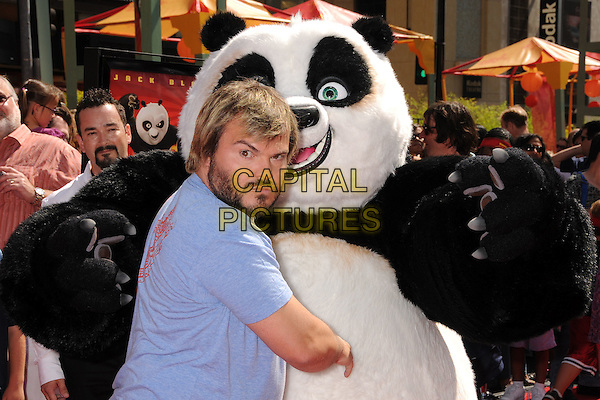 "JACK BLACK.""Kung Fu Panda"" Los Angeles Premiere at Grauman's Chinese Theatre, Hollywood, California, USA..June 1st, 2008.half length blue beard facial hair t-shirt dress-up costume looking over shoulder .CAP/ADM/BP.©Byron Purvis/AdMedia/Capital Pictures."