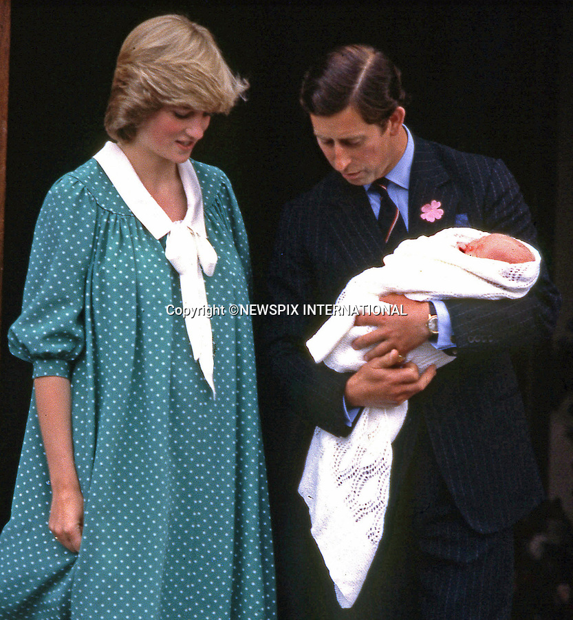 """London, UK, JUNE 22,1982:  BIRTH OF PRINCE WILLIAM.Prince Charles and Princess Diana leave St Mary's Hospital with their baby son Prince William..Prince William (Wiiliam Arthur Louis Mountbatten-Windsor) the first child of the Prince and Princess of Wales was born on 21st June 1982.Mandatory credit photo: ©FRANCIS DIAS/NEWSPIX INTERNATIONAL..(Failure to credit will incur a surcharge of 100% of reproduction fees).Immediate notification of usage required...**ALL FEES PAYABLE TO: """"NEWSPIX INTERNATIONAL""""**..Newspix International, 31 Chinnery Hill, Bishop's Stortford, ENGLAND CM23 3PS.Tel:+441279 324672.Fax: +441279656877.Mobile:  07775681153.e-mail: info@newspixinternational.co.uk"""