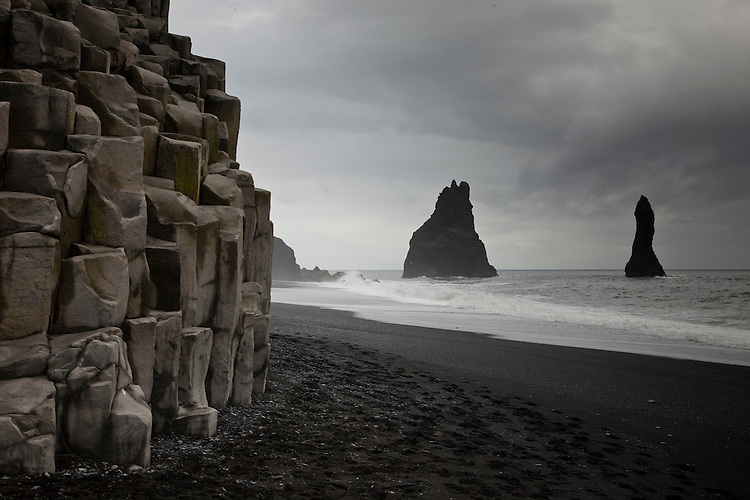 Basalt columns and Reynisdrangar sea stacks on southern coast