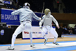 DURHAM, NC - FEBRUARY 26: Duke's Pascual Di Tella (ARG) (left) and Notre Dame's Jonah Shainberg (right) contest the Men's Saber championship final. The Atlantic Coast Conference Fencing Championships were held on February, 26, 2017, at Cameron Indoor Stadium in Durham, NC.