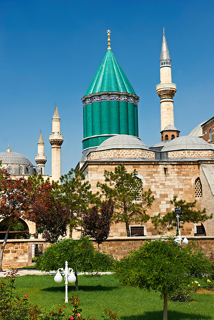 The Mevlana museum, with the blue domed   mausoleum of Jalal ad-Din Muhammad Rumi, a Sufi mystic also known as Mevlâna or Rumi. It was also the dervish lodge (tekke) of the Mevlevi order, better known as the whirling dervishes. Mevlâna died on 17 December 1273. Konya, Turkey