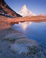 Mission Matterhorn, View from Riffellake to Matterhorn (left) 4478 m, Matterhorn, Switzerland