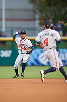 Gwinnett Braves second baseman Luis Valenzuela (1) throws the ball to shortstop Sean Kazmar (4) for the force out during a game against the Buffalo Bisons on August 19, 2017 at Coca-Cola Field in Buffalo, New York.  Gwinnett defeated Buffalo 1-0.  (Mike Janes/Four Seam Images)