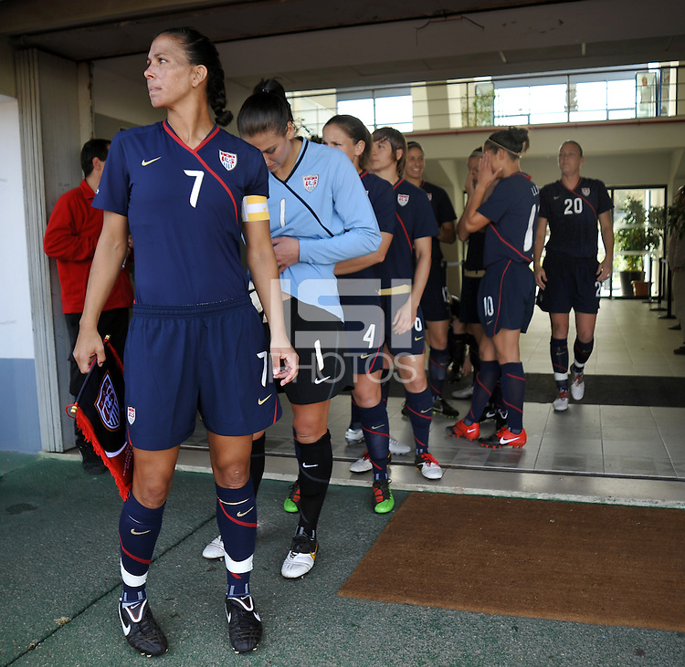 US Women's National Team captain Shannon Boxx surveys the field before leaving the tunnel to enter the stadium at the 2010 Algarve Cup game in Vila Real Sto. Antonio, Portugal.