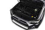 Car stock 2018 Toyota 4Runner Off-Road 5 Door SUV engine high angle detail view
