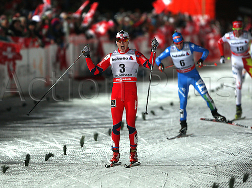 01.01.2013 Val Mustair, Switzerland. (L to r) Finn Haagen Krogh (NOR), Federico Pellegrino (ITA), Len Valjas (CAN) in action at the sprints finals of the Cross Country Ski World Cup -  Tour de ski - Val Mustair - Switzerland - 1.4 km Free sprint