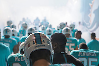 04.10.2015. London, England. NFL International Series. Miami Dolphins versus New York Jets.  Miami Dolphins run on to the pitch.