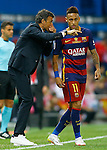 FC Barcelona's coach Luis Enrique Martinez (l) with Neymar Santos Jr during Spanish Kings Cup Final match. May 22,2016. (ALTERPHOTOS/Acero)