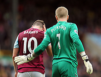 Burnley's Ashley Barnes holds his head following a collision with Everton's goalkeeper Jordan Pickford <br /> <br /> Photographer Rich Linley/CameraSport<br /> <br /> The Premier League - Burnley v Everton - Saturday 5th October 2019 - Turf Moor - Burnley<br /> <br /> World Copyright © 2019 CameraSport. All rights reserved. 43 Linden Ave. Countesthorpe. Leicester. England. LE8 5PG - Tel: +44 (0) 116 277 4147 - admin@camerasport.com - www.camerasport.com