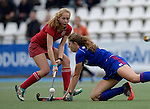 GER - Mannheim, Germany, October 25: During the final at the Deutsche Meisterschaft WJB between Mannheimer HC (blue) and Bremer HC (red) on October 25, 2015 at Mannheimer Hockey Club in Mannheim, Germany. Final score 3-5 (ET 1-1, FT 1-1, HT 0-1). (Photo by Dirk Markgraf / www.265-images.com) *** Local caption *** Merle Knobloch #91 of Mannheimer HC