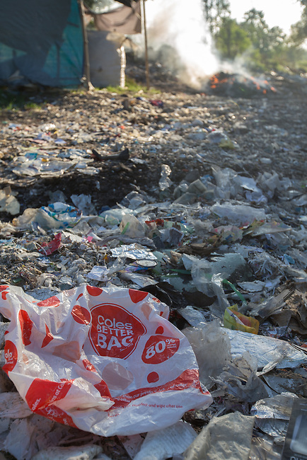 21 May 2019, Kwartu village, East Java, Indonesia, :  In Kwartu village East Java, outside Surabaya, Indonesia millions of tonnes of recyclable plastic trash from Australia and Europe is dumped for rag pickers to separate and sort. The plastics are used to fuel fires at local tofu factories among other industries. Australia is illegally sending non recyclable trash hidden within this lode and the Indonesian Government is cracking down on the practice and preparing to refuse to take Australia's rubbish that is creating environmental and health issues locally. Picture by Graham Crouch/The Australian