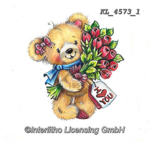 VALENTINE, VALENTIN, paintings+++++,KL4573/1,#v#, EVERYDAY ,sticker,stickers ,bear,bears
