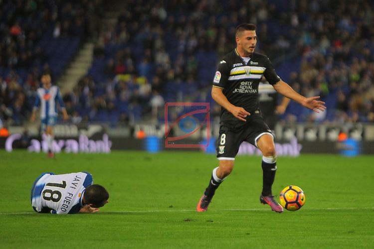 League Santander 2016/2017. Game: 13.<br /> RCD Espanyol vs CD Leganes: 3-0.<br /> Gabriel vs Javi Fuego.