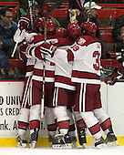 Marshall Everson (Harvard - 21), Kyle Criscuolo (Harvard - 11), Brayden Jaw (Harvard - 10), [h - The Harvard University Crimson defeated the Colgate University Raiders 4-1 (EN) on Friday, February 15, 2013, at the Bright Hockey Center in Cambridge, Massachusetts.