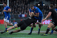 NZ's Scott Barrett tackles France's Yoann Maestri during the Steinlager Series international rugby match between the New Zealand All Blacks and France at Forsyth Barr Stadium in Wellington, New Zealand on Saturday, 23 June 2018. Photo: Dave Lintott / lintottphoto.co.nz