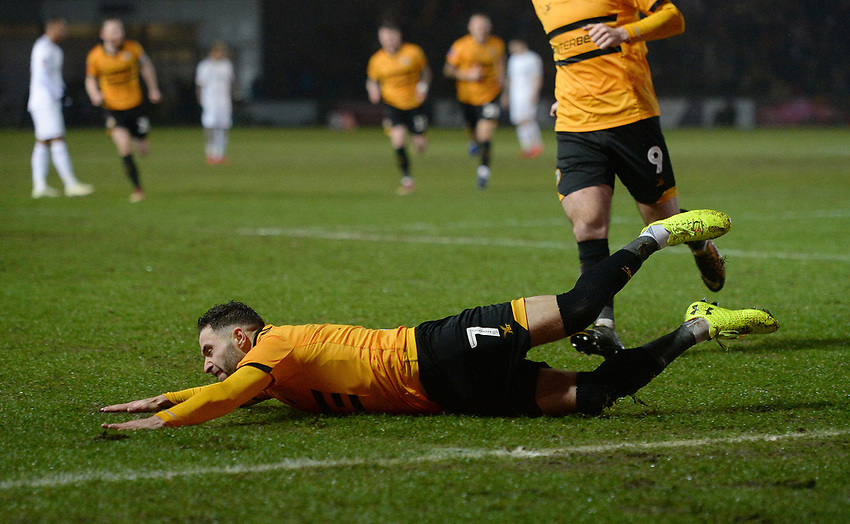 Newport County's Robbie Willmott celebrates scoring his side's first goal <br /> <br /> Photographer Ian Cook/CameraSport<br /> <br /> Emirates FA Cup Fourth Round Replay - Newport County v Middlesbrough - Tuesday 5th February 2019 - Rodney Parade - Newport<br />  <br /> World Copyright © 2019 CameraSport. All rights reserved. 43 Linden Ave. Countesthorpe. Leicester. England. LE8 5PG - Tel: +44 (0) 116 277 4147 - admin@camerasport.com - www.camerasport.com