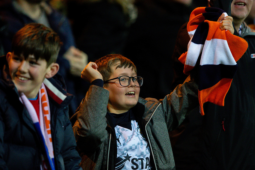 Luton Town fans celebrate their equaliser<br /> <br /> Photographer Alex Dodd/CameraSport<br /> <br /> The EFL Sky Bet Championship - 191123 Luton Town v Leeds United - Saturday 23rd November 2019 - Kenilworth Road - Luton<br /> <br /> World Copyright © 2019 CameraSport. All rights reserved. 43 Linden Ave. Countesthorpe. Leicester. England. LE8 5PG - Tel: +44 (0) 116 277 4147 - admin@camerasport.com - www.camerasport.com