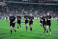 The All Blacks run in at halftime during the Steinlager Series international rugby match between the New Zealand All Blacks and France at Westpac Stadium in Wellington, New Zealand on Saturday, 16 June 2018. Photo: Dave Lintott / lintottphoto.co.nz