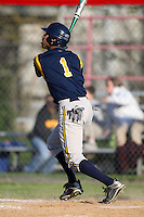 """May 10,2010:  Shortstop Chris """"Cito"""" Culver (1) of the Irondequoit Eagles hits a home run to right in a game vs. the Canandaigua Braves during a Monroe County regular season game at Evans Field in Canandaigua, NY.  The game was called with a 19-19 score after 7 innings because of darkness.  Photo by Mike Janes/Four Seam Images"""
