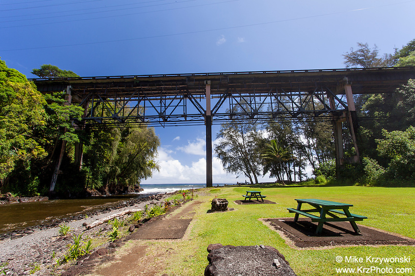 Large bridge over Kolekole Beach Park in Honomu, Big Island, Hawaii