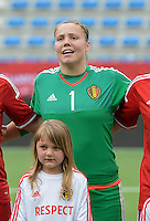 20150523 - SINT-TRUIDEN ,  BELGIUM : Belgian Justien Odeurs pictured during the friendly soccer game between the Belgian Red Flames and Norway, a preparation game for Norway for the Women's 2015 World Cup, Saturday 23 May 2015 at Staaien in Sint-Truiden , Belgium. PHOTO DAVID CATRY