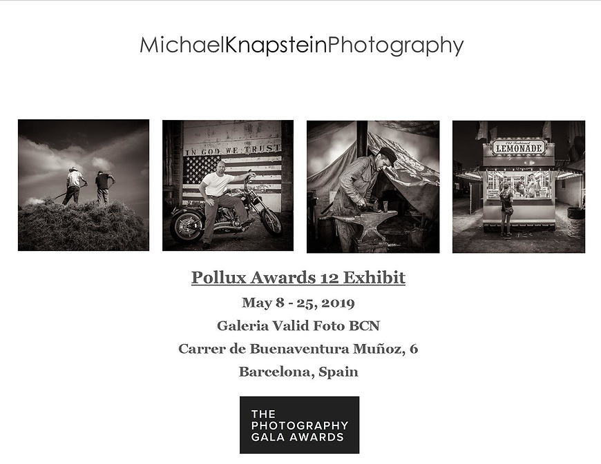Photographs by Michael Knapstein were selected for an international juried exhibition at the Galeria Valid Foto in Barcelona, Spain.