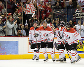 John Tavares (Canada - 19), Alex Pietrangelo (Canada - 10), Ryan Ellis (Canada - 8), Chris Di Domenico (Canada - 25), Angelo Esposito (Canada - 7) - Team Canada defeated the Czech Republic 8-1 on the evening of Friday, December 26, 2008, at Scotiabank Place in Kanata (Ottawa), Ontario during the 2009 World Juniors U20 Championship.