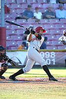 Norberto Obeso (10) of the Vancouver Canadians bats against the Salem-Keizer Volcanoes at Volcanoes Stadium on July 24, 2017 in Keizer, Oregon. Salem-Keizer defeated Vancouver, 4-3. (Larry Goren/Four Seam Images)