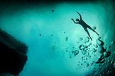 INDONESIA, Flores, Sebayur Island, having a swim in the Flores Sea off the coast of Labuan Bajo