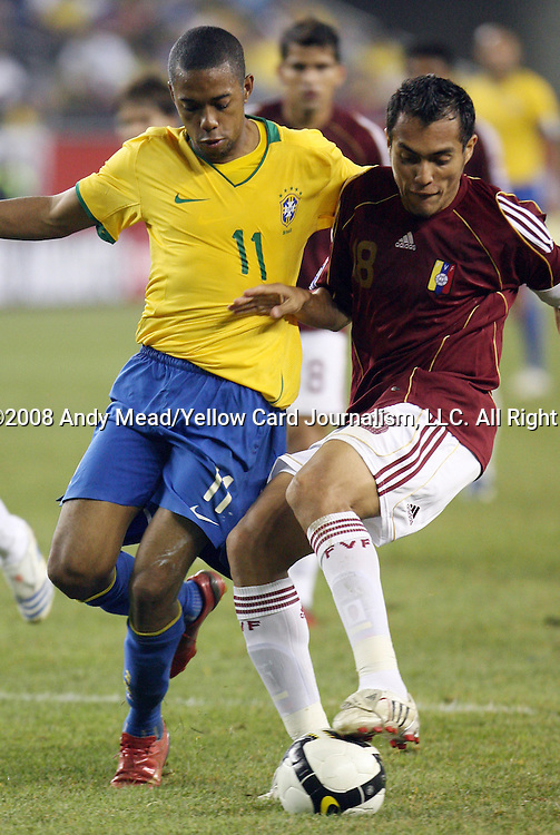 06 June 2008: Robinho (BRA) (11) and Juan Arango (VEN) (18). The Venezuela Men's National Team defeated the Brazil Men's National Team 2-0 at Gillette Stadium in Foxboro, Massachusetts in an international friendly soccer match.