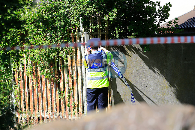 The scene of a serious assault off Sandyford Tec, In Drogheda, A male in his mid forthys was removed to Our Lady of Lourdes Hospital in a critical condition, Garda have sealed off the area.<br /> Picture:  Fran Caffrey / www.newsfile.ie