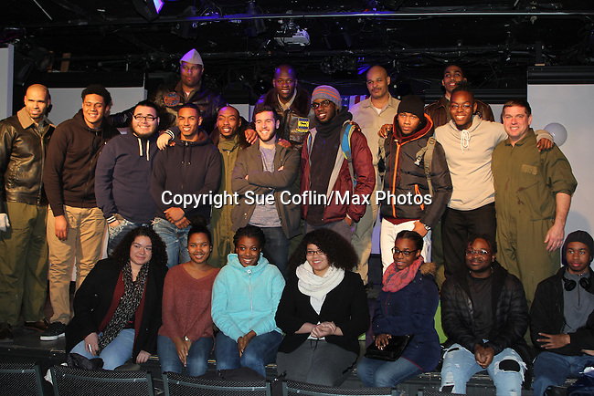 "7th Anniversary of Layon Gray's ""Black Angels Over Tuskegee"" - Straighten Up Fly Right - cast - back row: Layon Gray (also wrote and directed it), David Roberts, Anthony Goss, Melvin Huffnagle, Thaddeus Daniels. Front"" Delano Barbosa, Lamar Cheston, Craig Colasanti on February 10, 2017 at St. Luke's Theatre, New York City, New York. (Photo by Sue Coflin/Max Photos)"